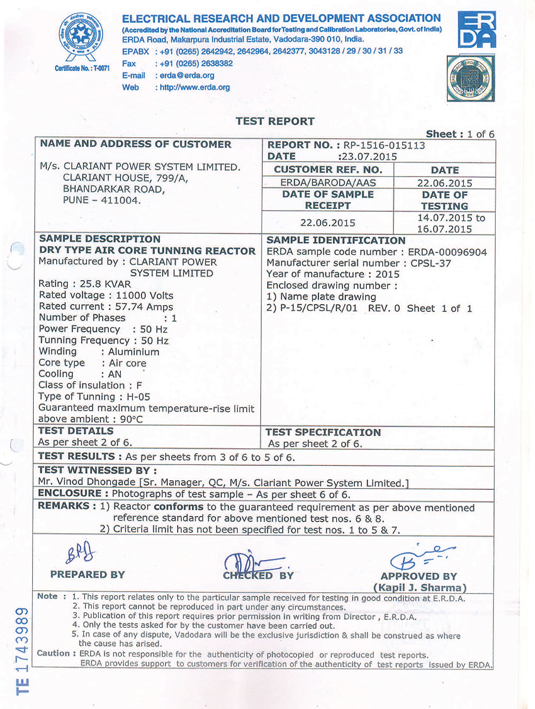certification and approvals clariant power system solution pvt ltd